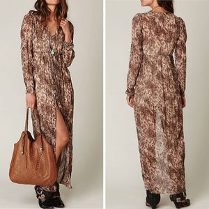 Free People Dreamtime Leopard Maxi Dress EUC Small